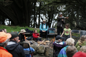 Jon Young speaking at a Presidio Bird Language event.